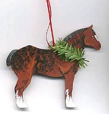 amazon com hand painted draft horse wood christmas ornament