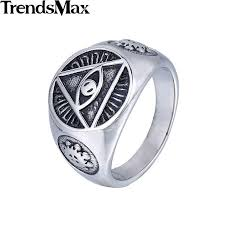 pyramid wedding band trendsmax illuminati pyramid eye symbol gold plated 316l stainless
