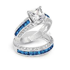 blue and white engagement rings saphire and blue rings wedding promise