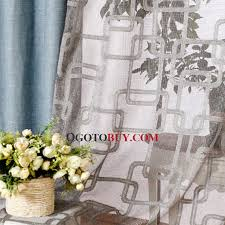 quality burlap simple country style curtains in blue color buy
