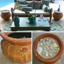 patio side table ideas diy planter pot side table ideas with seashell planter pots patio