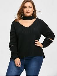 plus size choker v neck zipper sleeve sweater black plus size