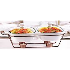 circleware ceramic chafer double buffet server warmer baker