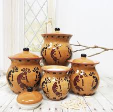 amazon com western kokopelli hand painted ceramic 4pc canister