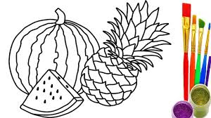 how to draw watermelon u0026 pineapple coloring pages drawing kid