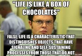 Life Is Like A Box Of Chocolates Meme - life is like a box of chocolates false life is a characteristic
