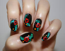 tropical flower nails