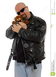tough guy with a teddy bear stock photo image 21965380