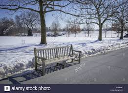 empty park bench cold winter day stock photo royalty free image