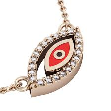 rose zircon necklace images Twin evil eye necklace made of 925 sterling silver 18k rose jpg