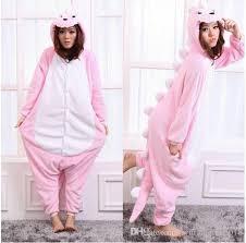 unisex winter pajamas sleep coat flannel pink dinosaur