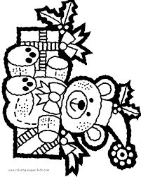 christmas teddy bear color christmas coloring pages
