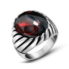 titanium style rings images Black onyx red ring for men thick band in antique titanium jpg