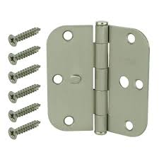 kitchen cabinet door hinges at home depot everbilt 3 1 2 in satin nickel 5 8 in radius security door hinges value pack 3 pack 14874 the home depot