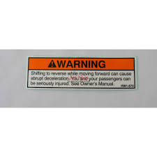 honda aquatrax part 87543 hw1 670 reverse warning label jet
