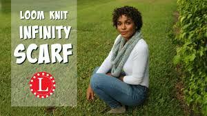 loom knit infinity scarf on round loom mock crochet stitch easy