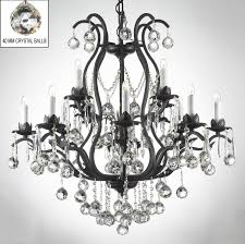 Black Iron Chandeliers Swarovski Trimmed Chandelier Wrought Iron
