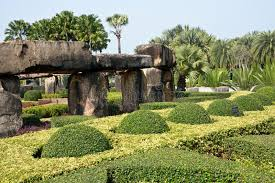 rock garden of park nong nooch tropical garden thailand stock