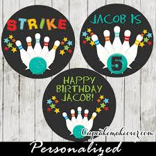 personalized cupcake toppers blue bowling pins favor tags personalized cake toppers