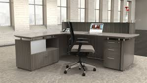 Computer Desk With File Cabinet Mayline Sterling Series Textured Driftwood Reception Desk With