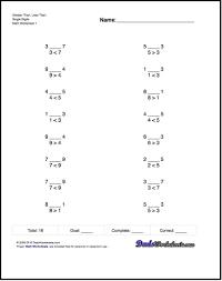 math worksheets practice single digit comparisons math practice