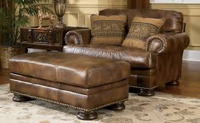 leather chair and a half with ottoman beautiful first grade leather chair and a half with ottoman in brown