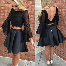 fashion little black two pieces short cocktail homecoming dresses