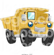 royalty free vector of a blue eyed yellow dump truck logo by bnp