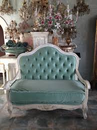 French Settee Loveseat Aqua Velvet Antique Country Sofa Shades Of Aqua Pinterest