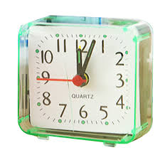 Square small bed alarm clock transparent case compact travel clock