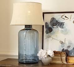 Pottery Barn Mason Jar Chandelier Clift Glass Table Lamp Base Light Blue Pottery Barn