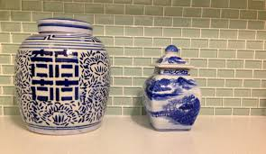 blue and white kitchen canisters the kitchen host and serve