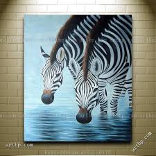 zebras drinking water oil painting contemporary animal zebra home