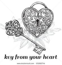 vector clipart of tattoo design of lock ands key lock ands key