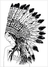 coloring pages of indian feathers beautiful indian woman native american coloring pages for adults