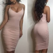 light pink bodycon dress nattemaid 2017 women dresses solid color light pink bodycon