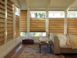 mid century interior with white bay windows also fabric window
