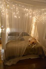 white string lights for bedroom also hanging in small rustic