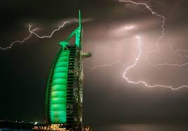 Burj Al Arab by Wordlesstech Lightning Over Burj Al Arab