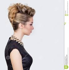 beautiful woman with evening salon hairdo complicated hairstyle