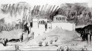 le corbusier sketch of the acropolis athens done during the