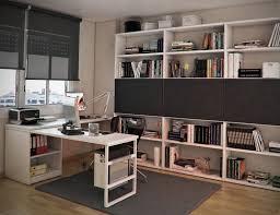 white wooden desk on dark grey rug and dark grey window blinds
