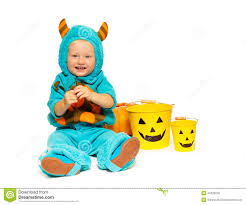 Halloween Monster Costumes by Little Boy In Horned Halloween Monster Costume Stock Photo Image