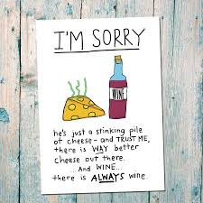 cartoon wine and cheese break up card by indieberries notonthehighstreet com