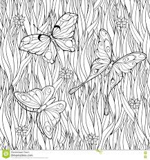 coloring page with butterflies flying above grass and flowers
