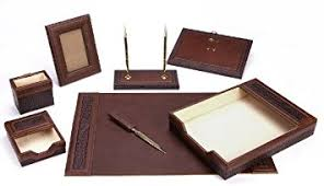 Brown Leather Desk Accessories Majestic Goods Office Supply Leather Desk Set Brown