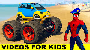 monster truck videos for kids youtube fun monster truck with spiderman in cartoon for kids and nursery