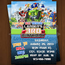 transformer rescue bots party supplies rescue bots invitation rescue bots birthday invitations