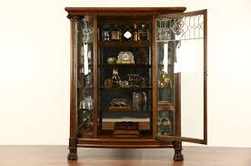 antique curio cabinet with curved glass sold curved glass 1900 antique oak china cabinet curio display
