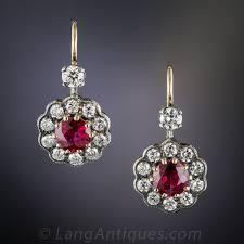 ruby drop earrings antique style ruby and diamond drop earrings
